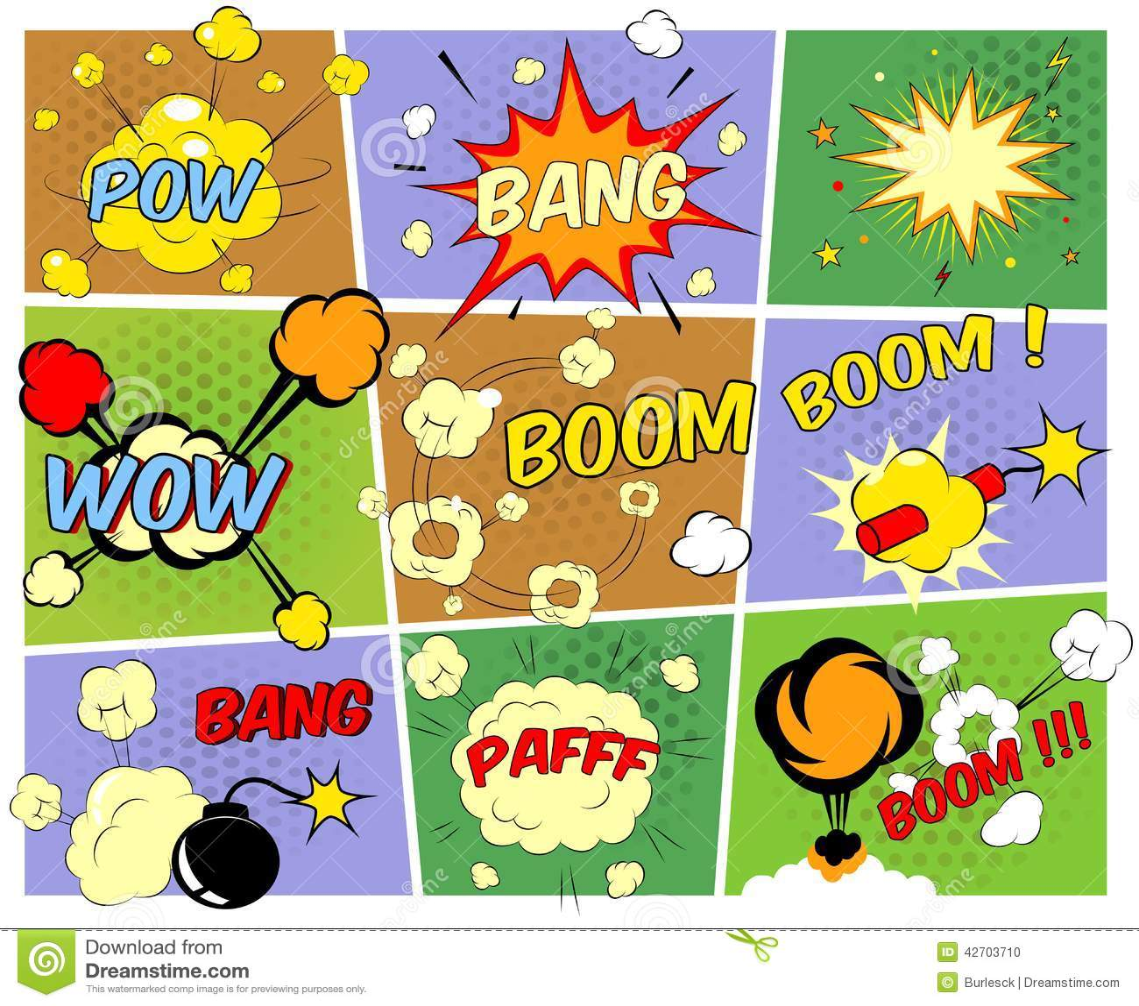 Mock-ups of comic book speech bubbles