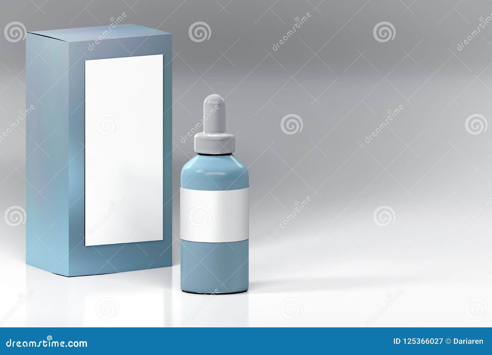 Mockup błękitna vape butelka z białą pustą etykietką