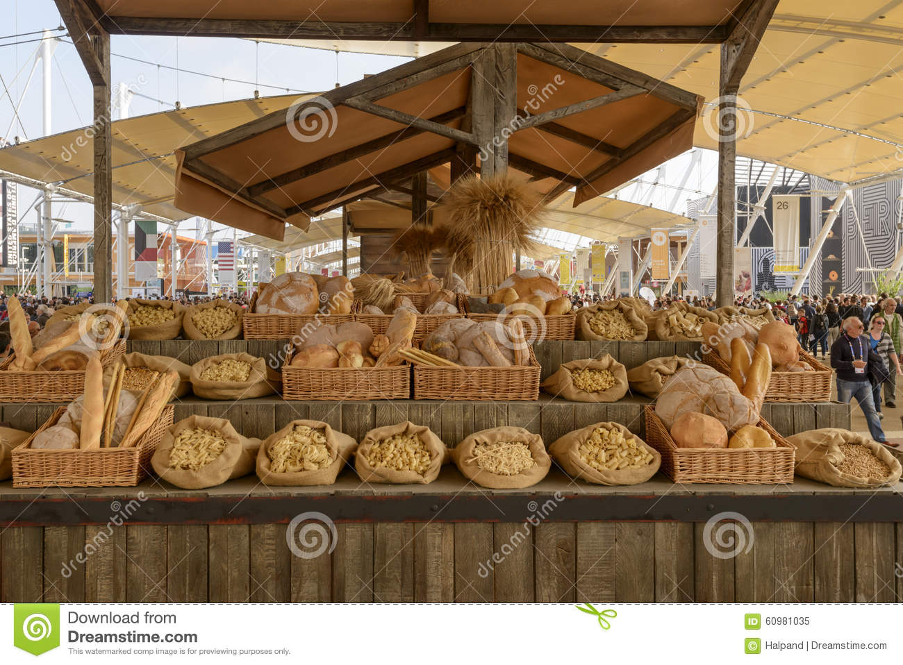 Exhibition Stall Mockup : Mockup of bakery food in exhibition on decumano expo