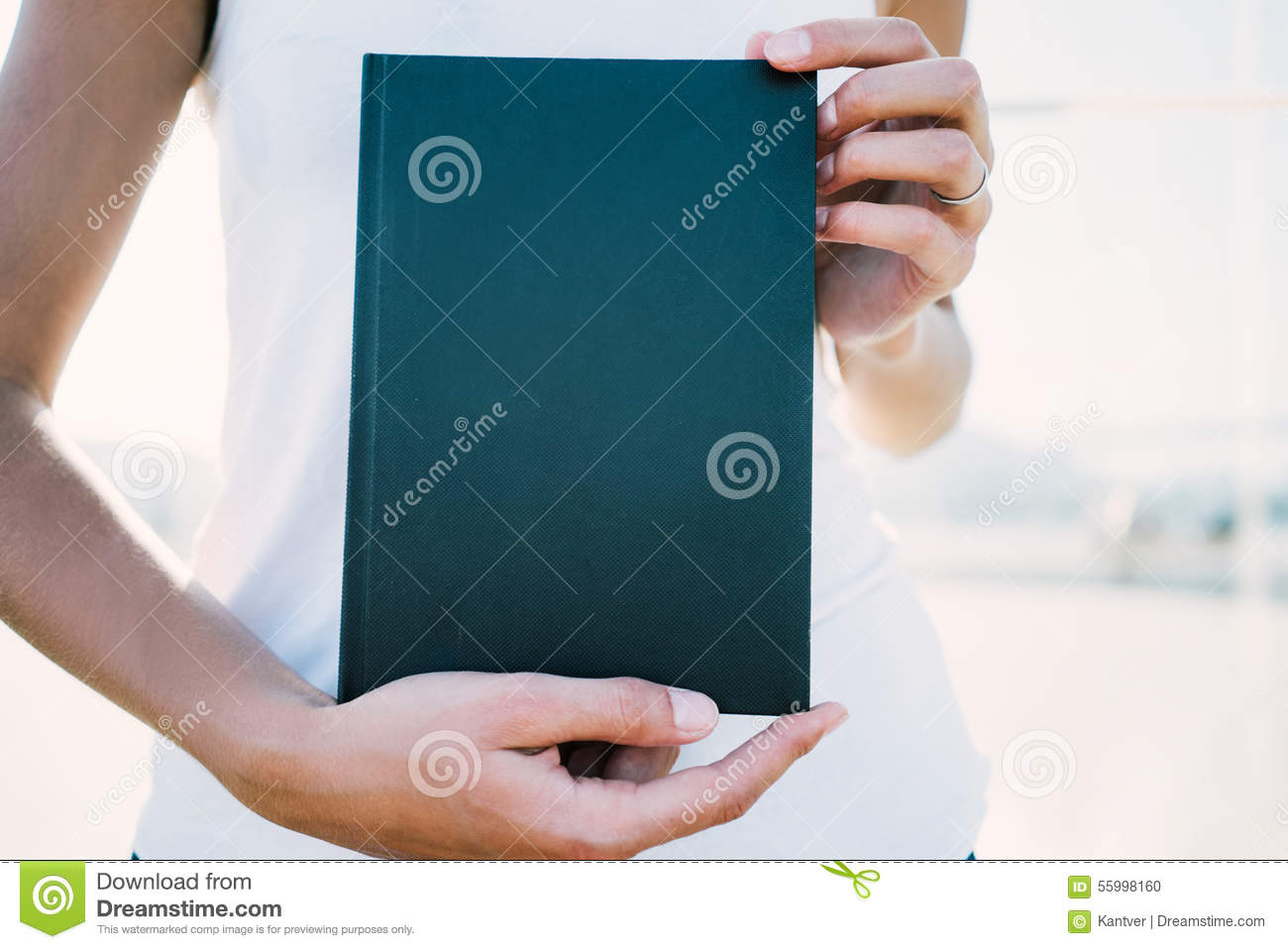 Mockup Of Black Book In Hands Stock Photo Image Of Modern Cover