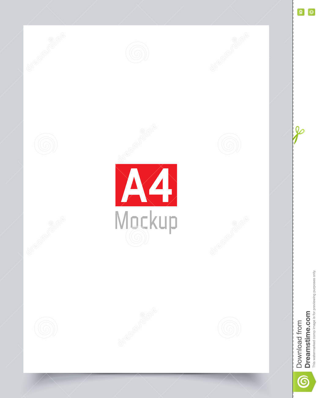 Mockup Blank White Paper Page A4 Size With Shadow Vector Flyer Mock Up Isolated On Gray Background Material Design Illustration Poster