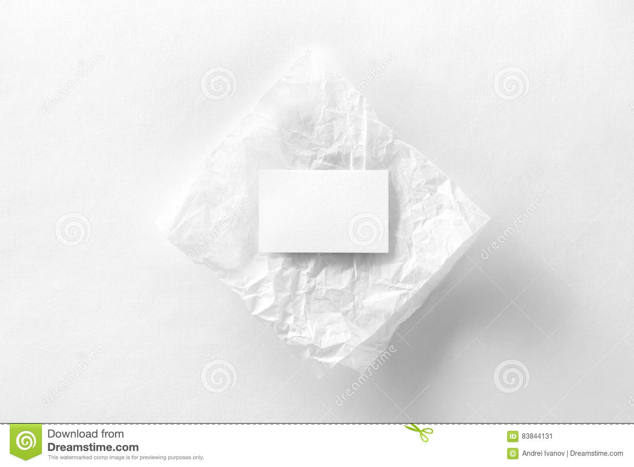 Mockup of business card on creasy tracing paper stock image image download comp reheart Image collections
