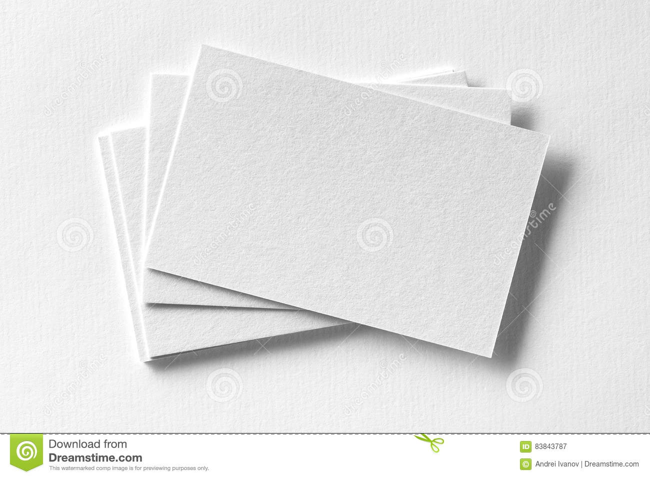 Mockup Of Business Cards Fan Stack At White Textured Paper Stock ...