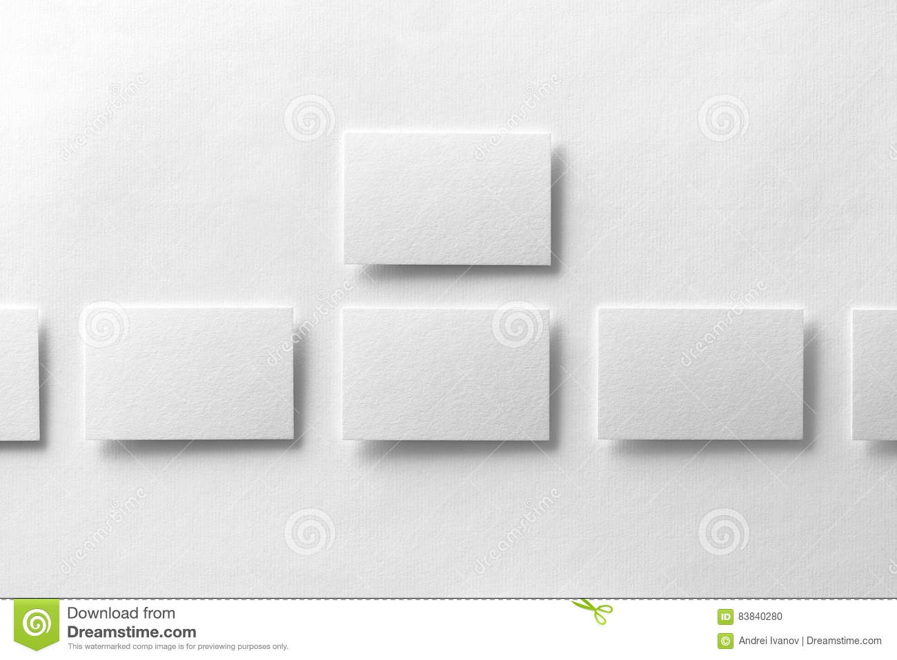 Mockup Of Business Cards Rows At White Textured Paper Background ...