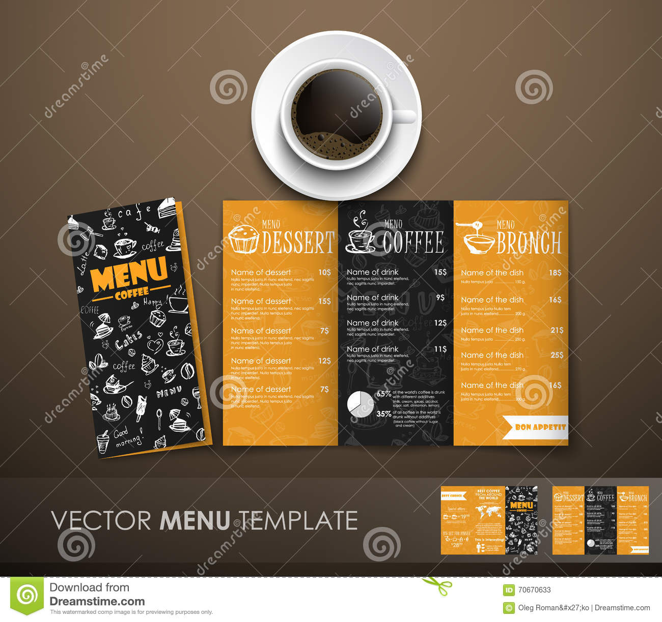 The Mockup Of The Coffee Menu With A Cup Of Coffee Stock Vector - Menu mockup template