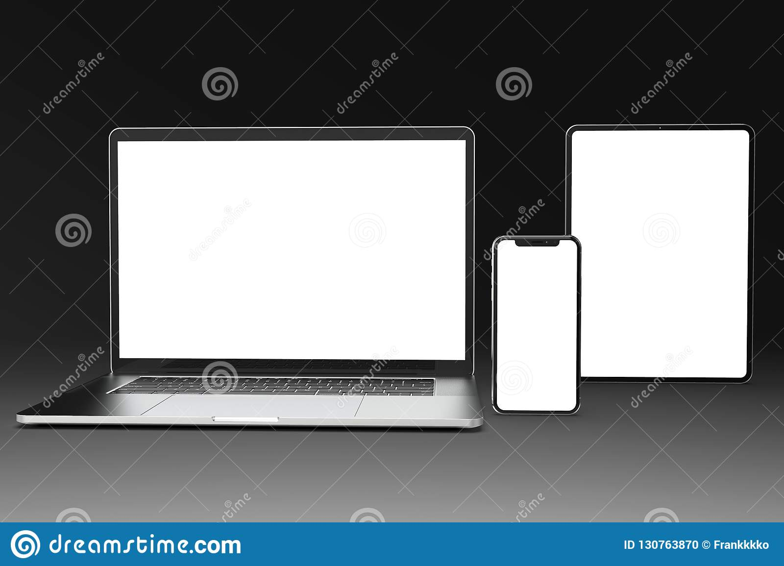 Devices for Responsive site mock-up: laptop, phone, tablet