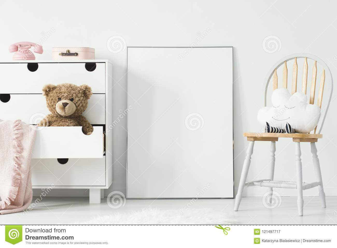 Mockup of empty poster and cabinet with plush toy and pink blank