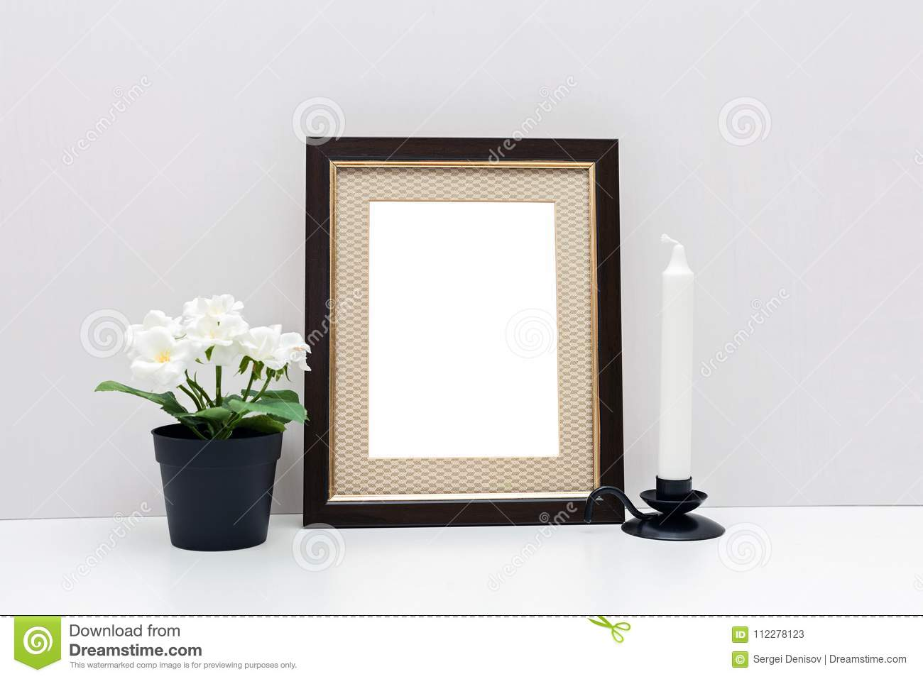 Mockup 8x10 With With Flowers And White Candle Stock Image - Image ...