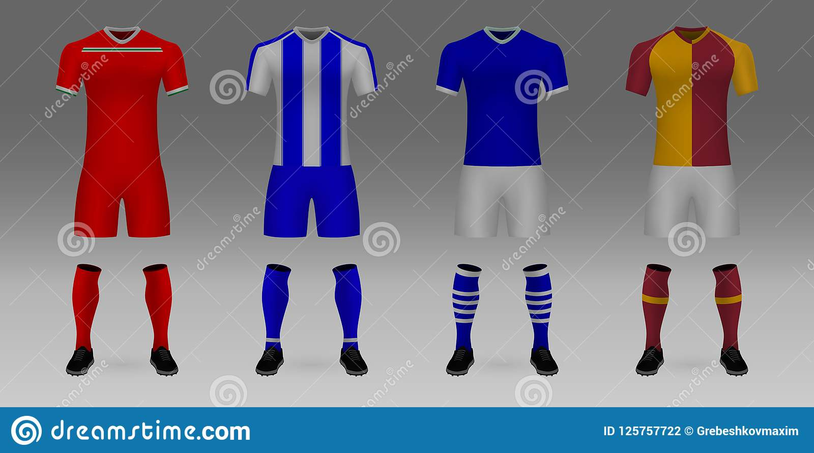 4b675ebb6 Mockup Of Football Team Uniform Stock Vector - Illustration of polo ...