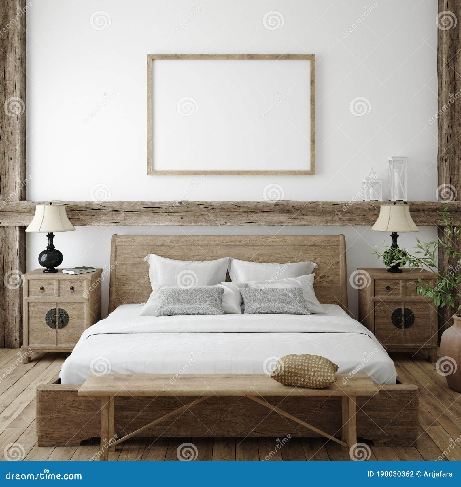Mockup Frame In Bedroom Interior Background Farmhouse Style Stock Illustration Illustration Of Background Natural 190030362