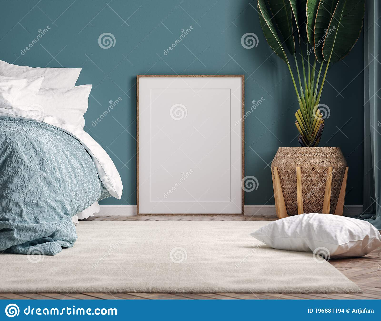 Mockup Frame In Dark Green Bedroom Interior Background Stock Illustration Illustration Of Render Room 196881194