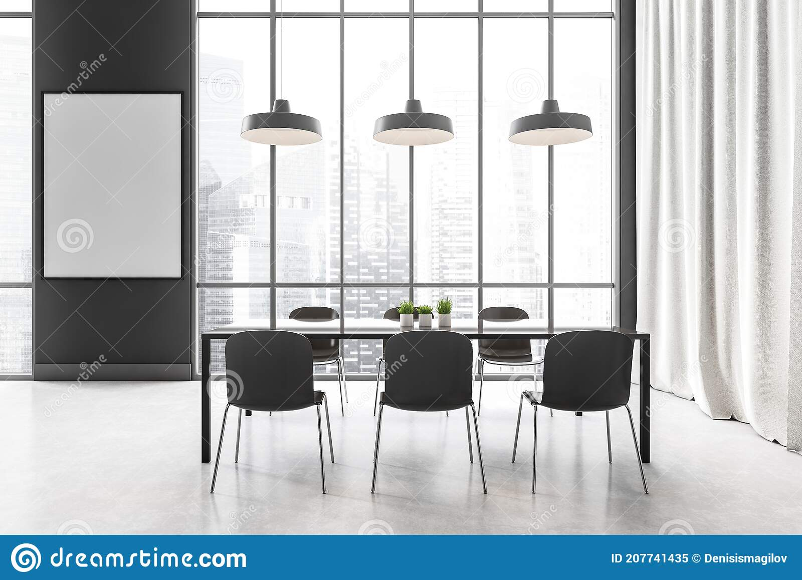 Mockup Frame In Dining Room With Black Furniture And White Curtains Near Window Stock Illustration Illustration Of Plant Render 207741435