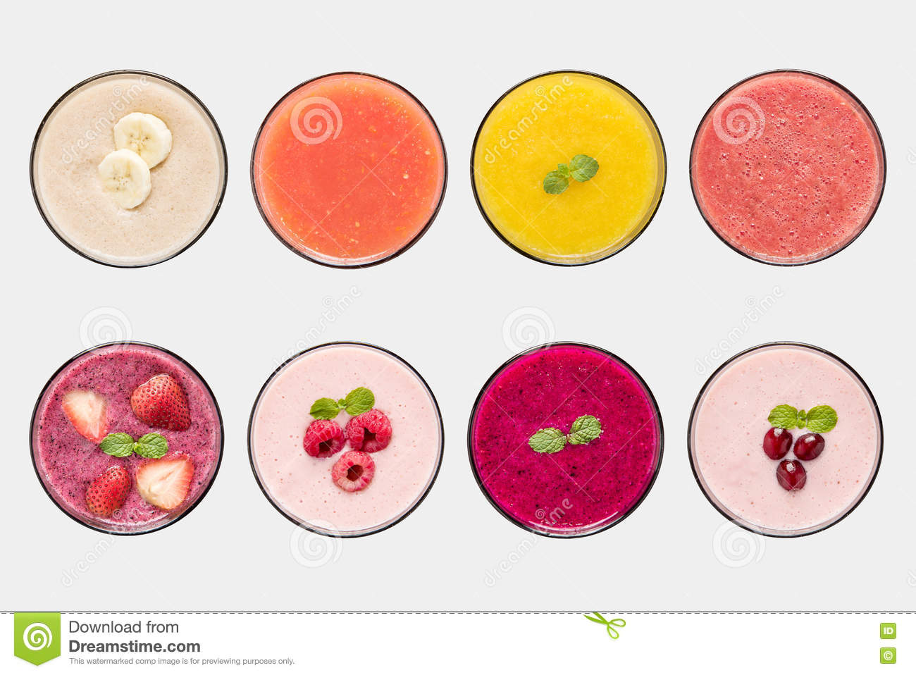 Mockup fruit smoothie and fruit juice set isolated on white background.