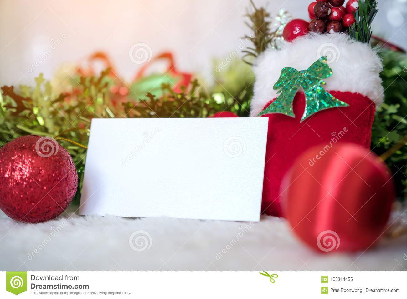 mockup image of white blank name card with christmas decorations - Christmas Decorations Names
