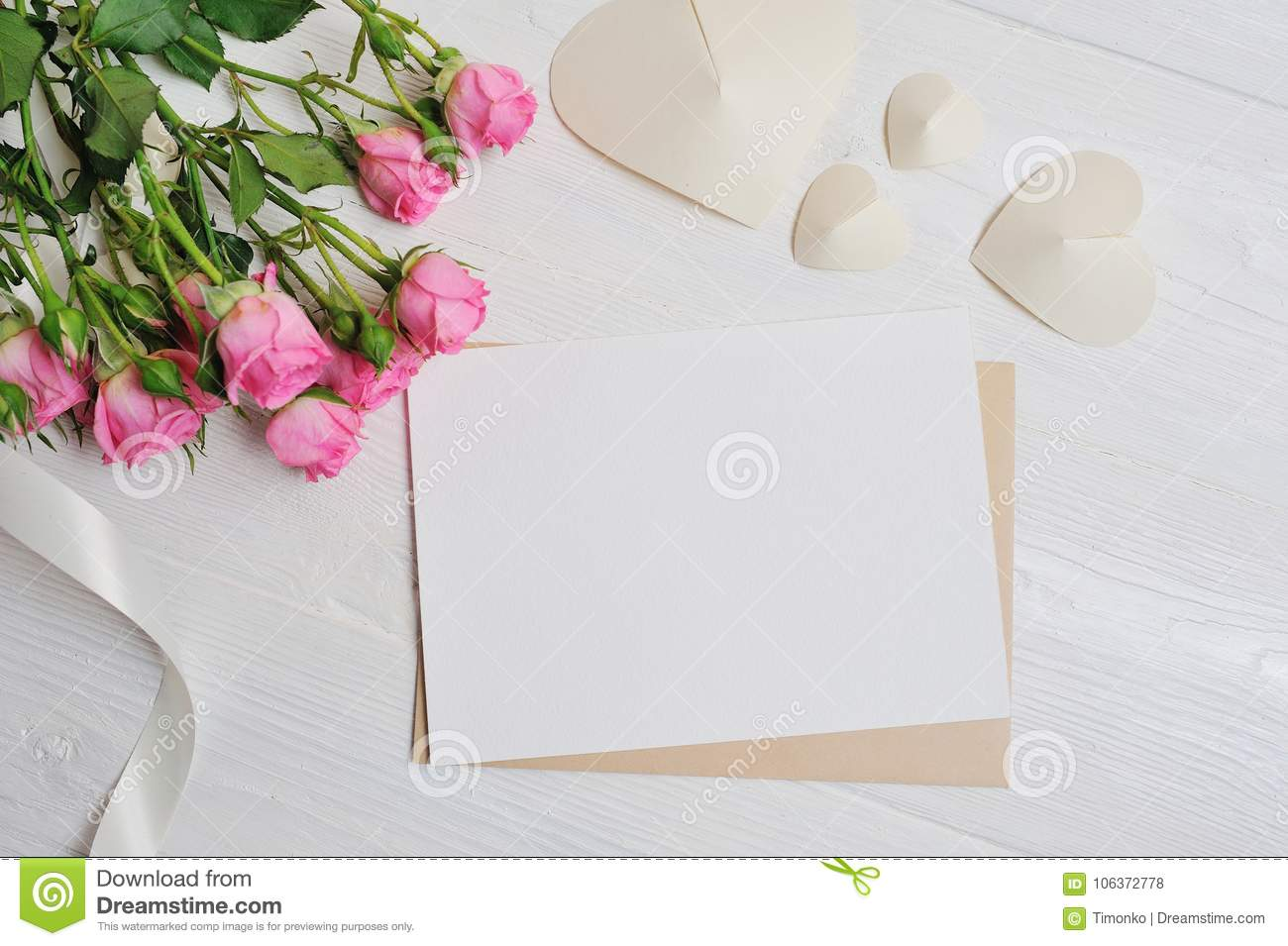 Mockup Letter White Origami Hearts Made Of Paper With Pink Roses