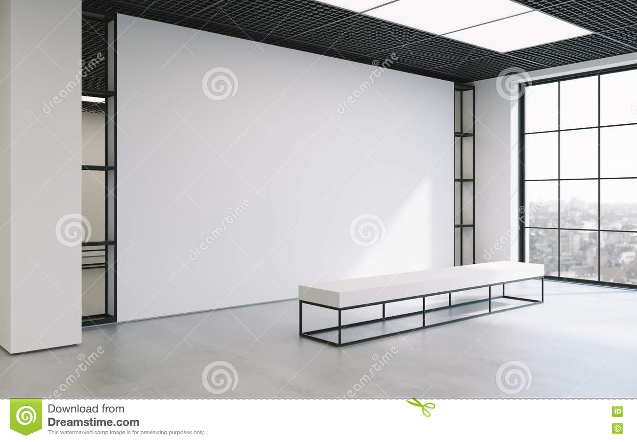 Exhibition Light D Model : Mockup of light empty exhibition gallery with bench. concrete floor