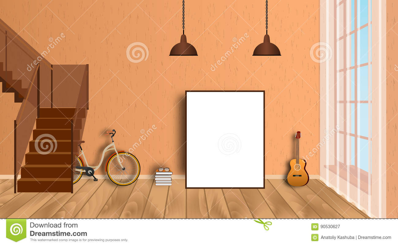 Download Mockup Living Room Interior With Empty Frame Bicycle Guitar Wood Floor And