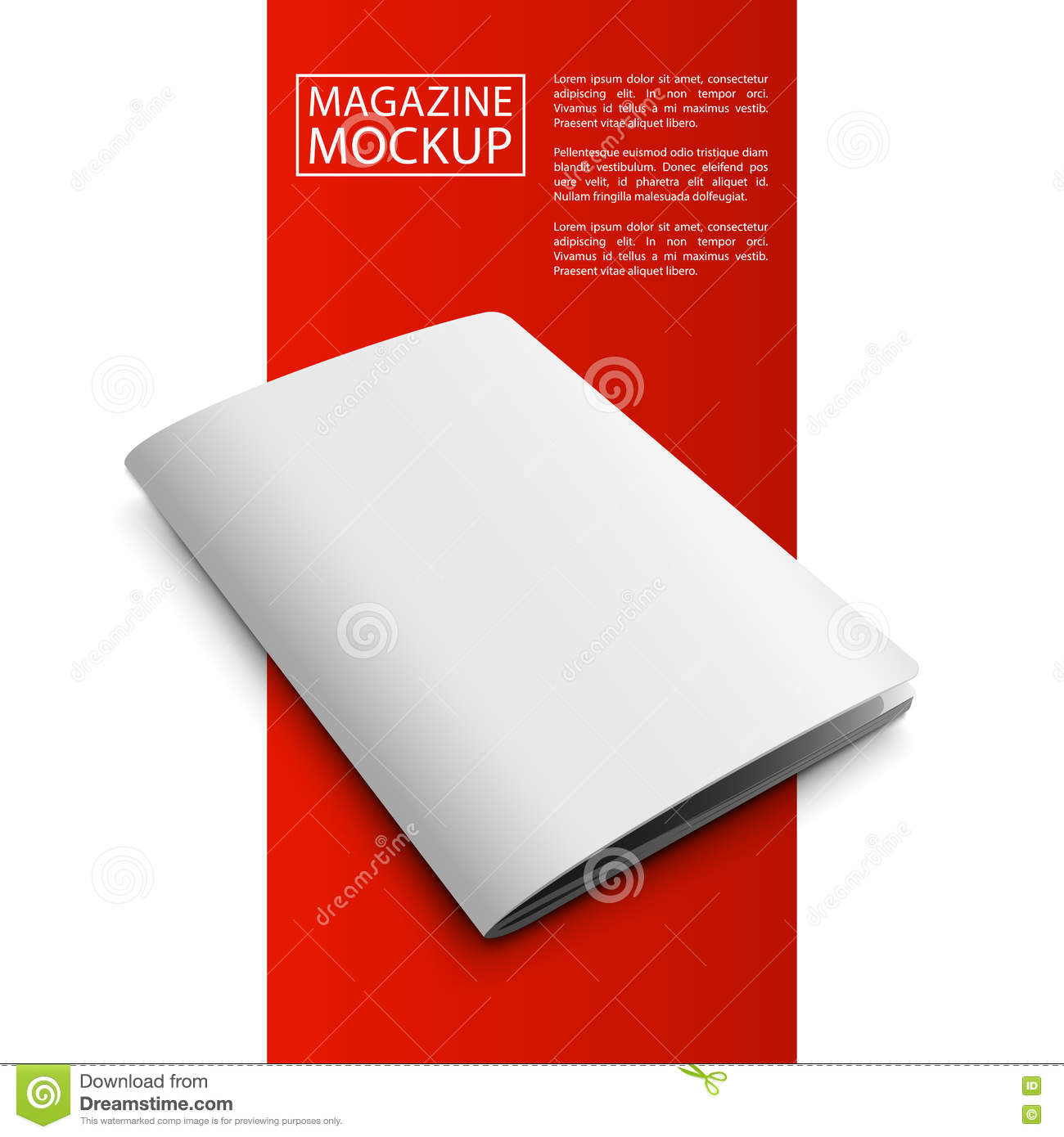 Mockup Magazine Red Line2-01 Stock Vector - Illustration of empty
