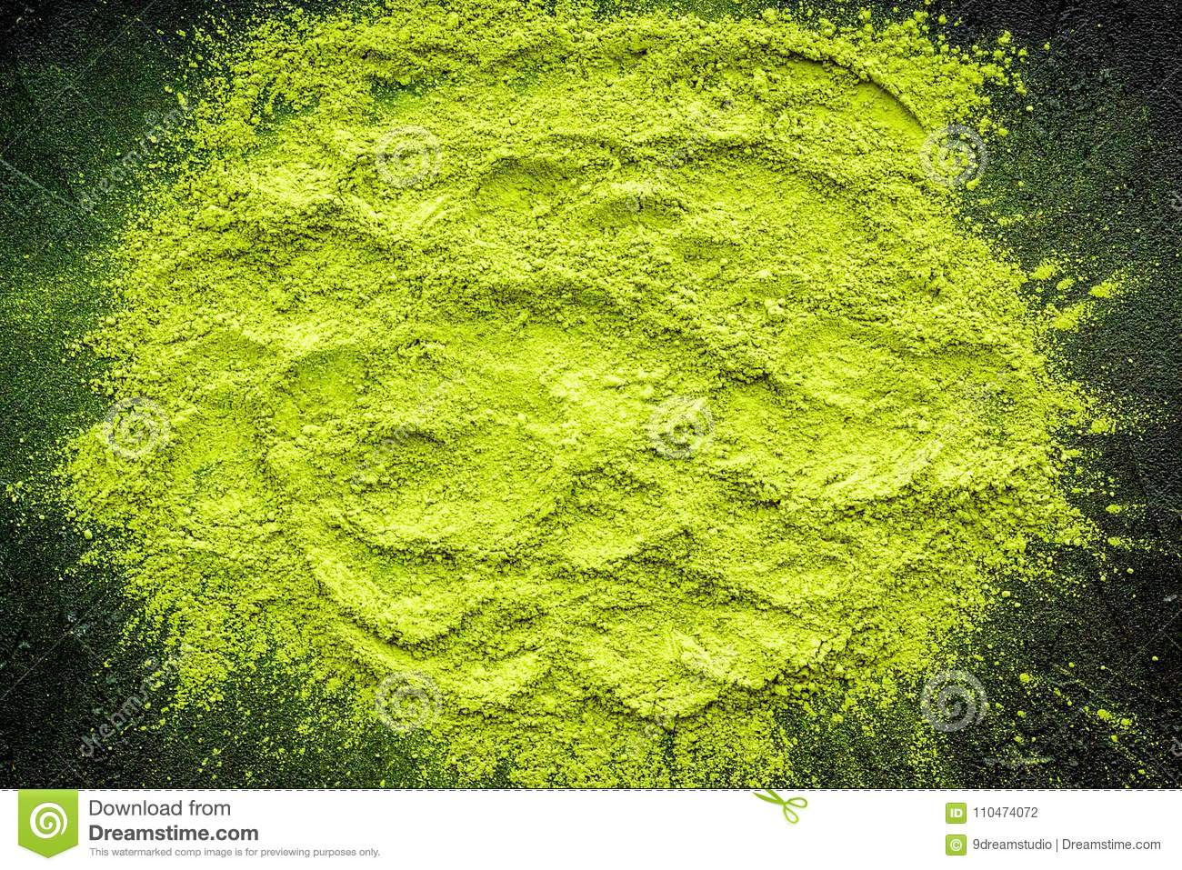 Mockup With Matcha Powder Tea On Black Background Top View Stock Algea
