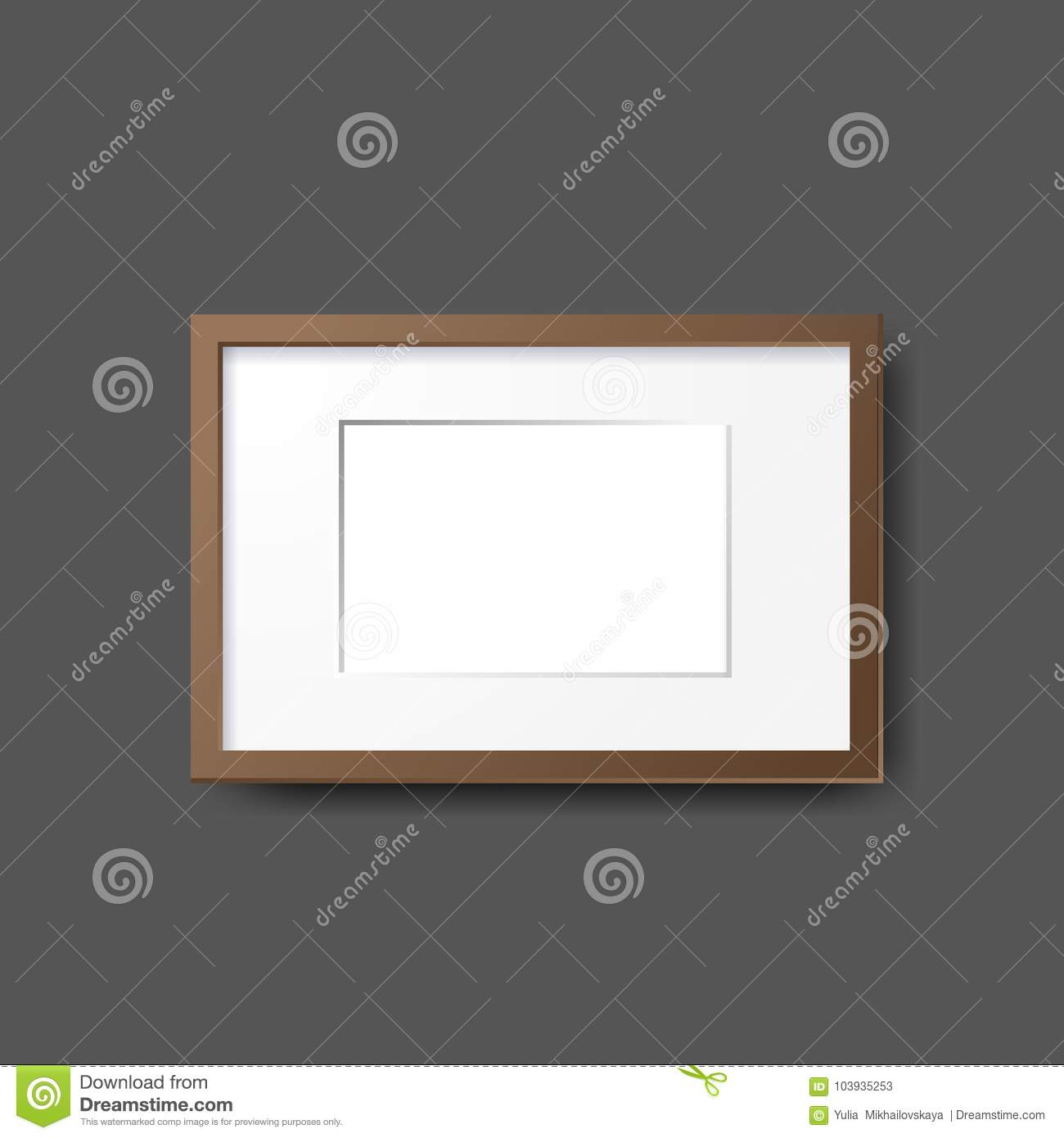 Mockup Modern Empty Frames On Wall. Layout Template. Realistic ...