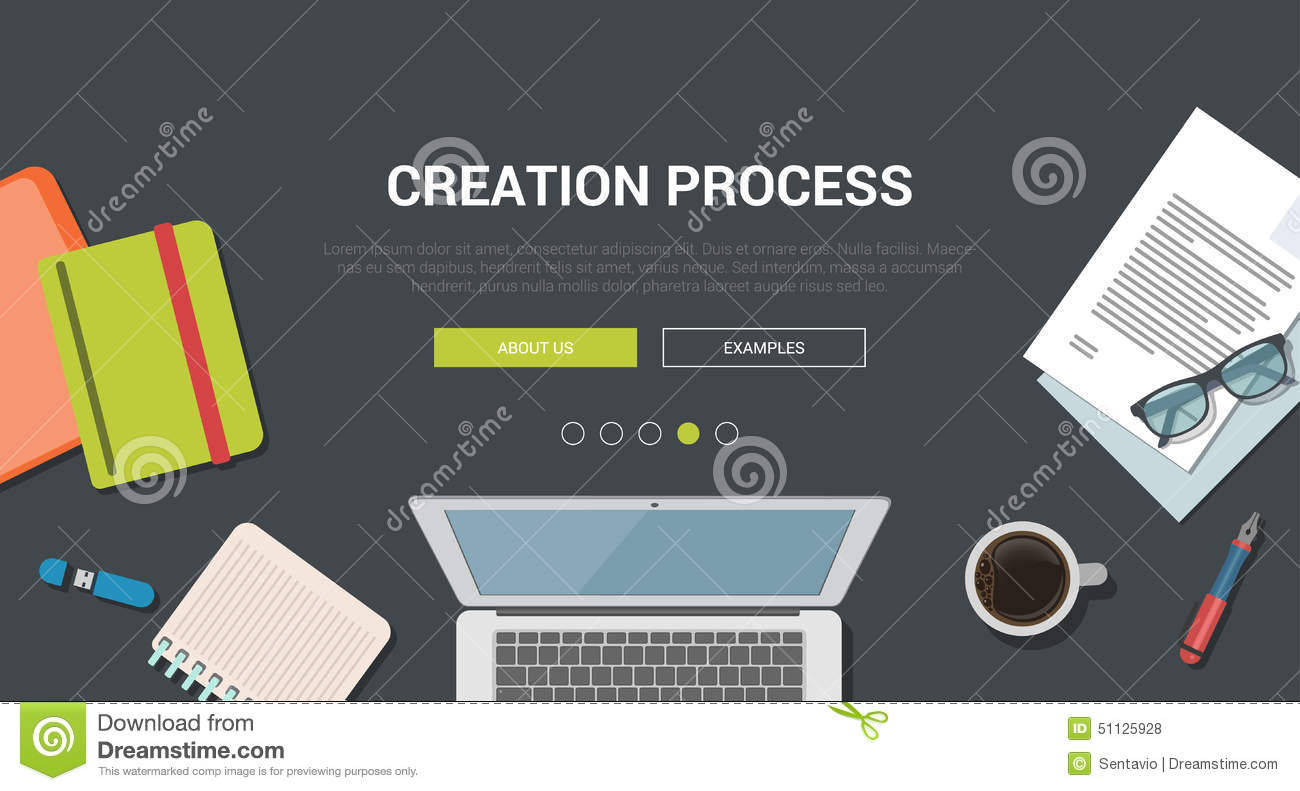 Mockup Modern Flat Design Concept For Creative Creation Process Stock ...