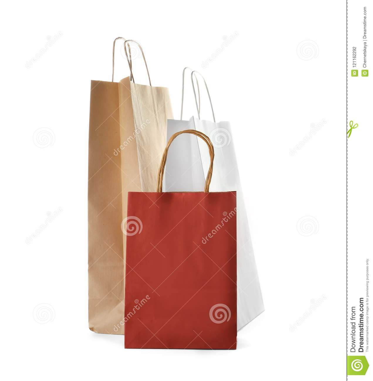 Mockup of paper shopping bags