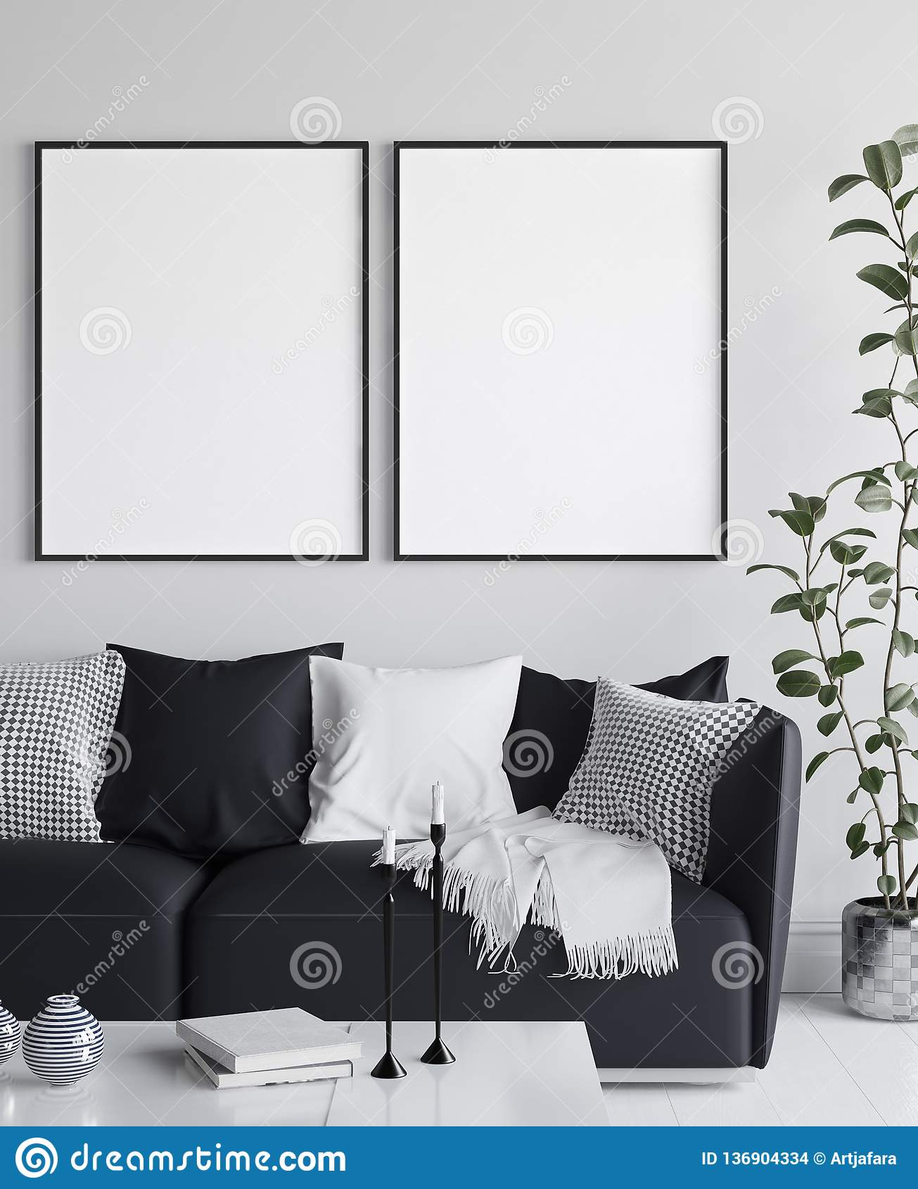 Mockup plakat w żywym izbowym wnętrzu, skandynawa styl