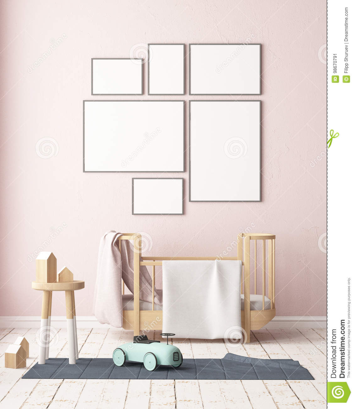 Pastel Colors Kids Room: Mockup Poster In The Children`s Room In Pastel Colors