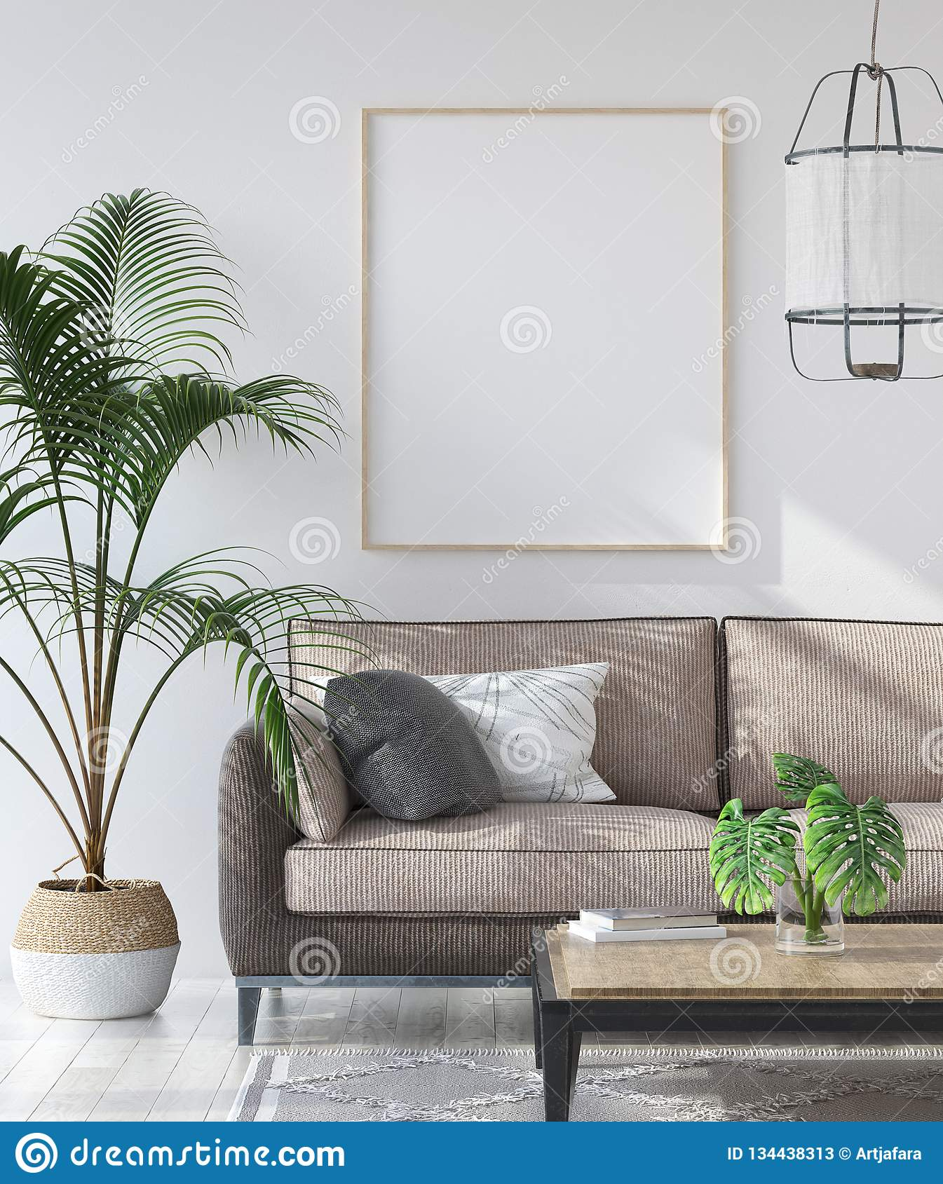 Mockup poster in hipster living room interior, Scandinavian style