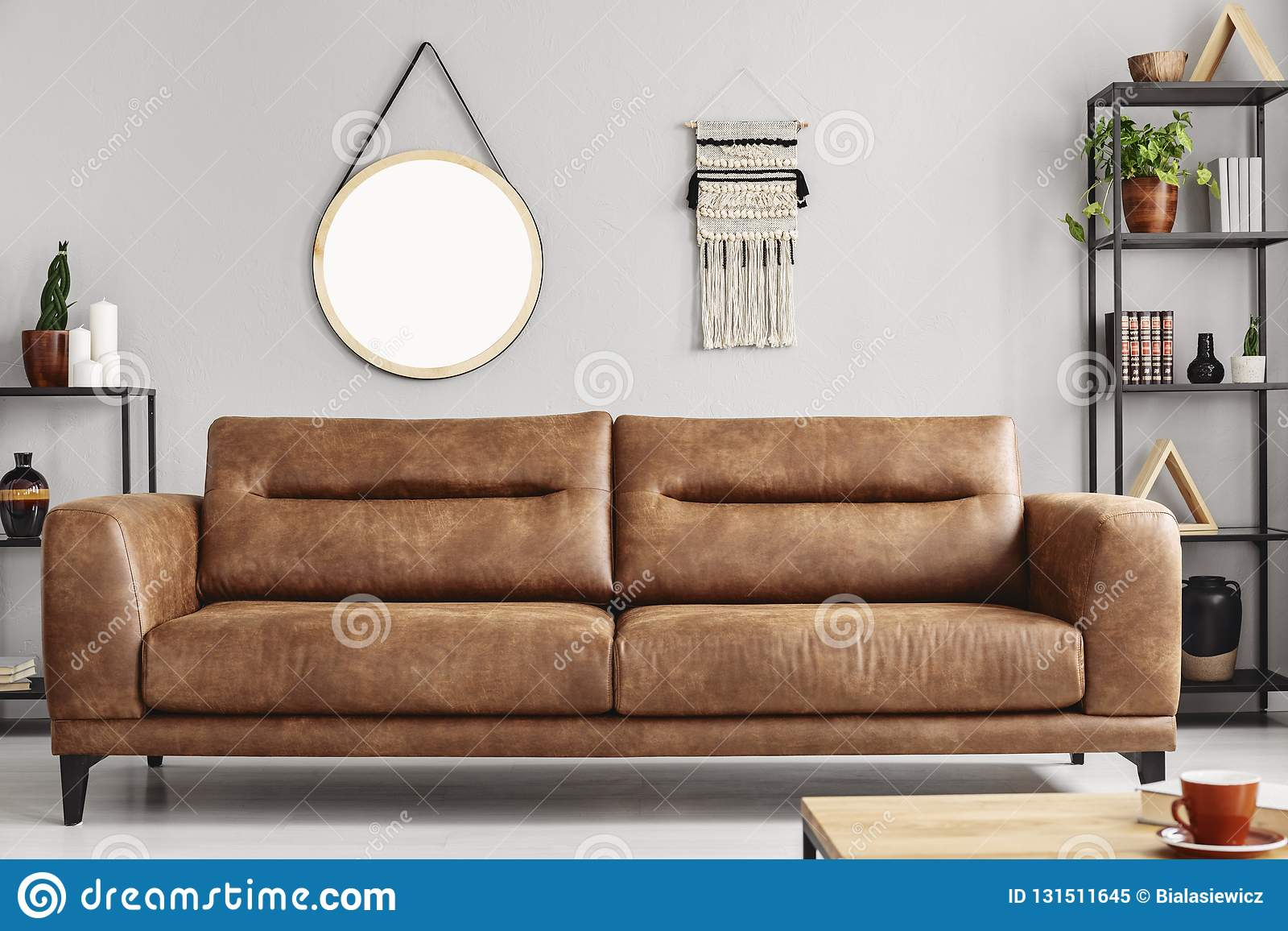 Mockup Of Round Mirror On Grey Wall In Living Room Real