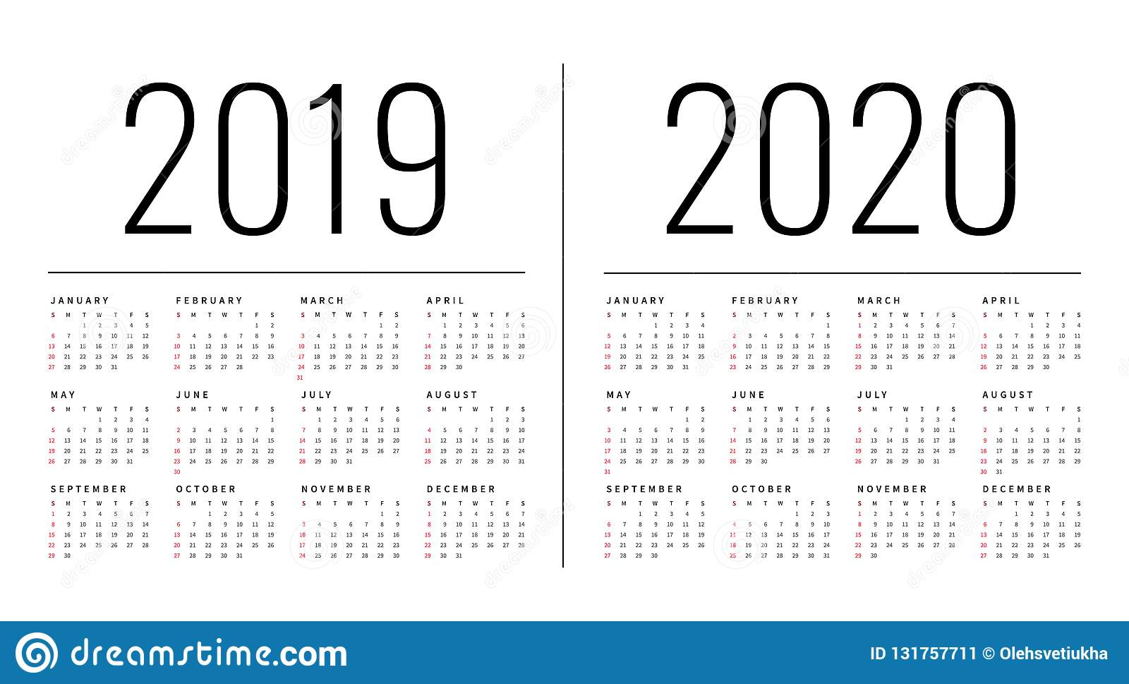 Mockup Simple calendar Layout for 2019 and 2020 years. Week starts from Monday