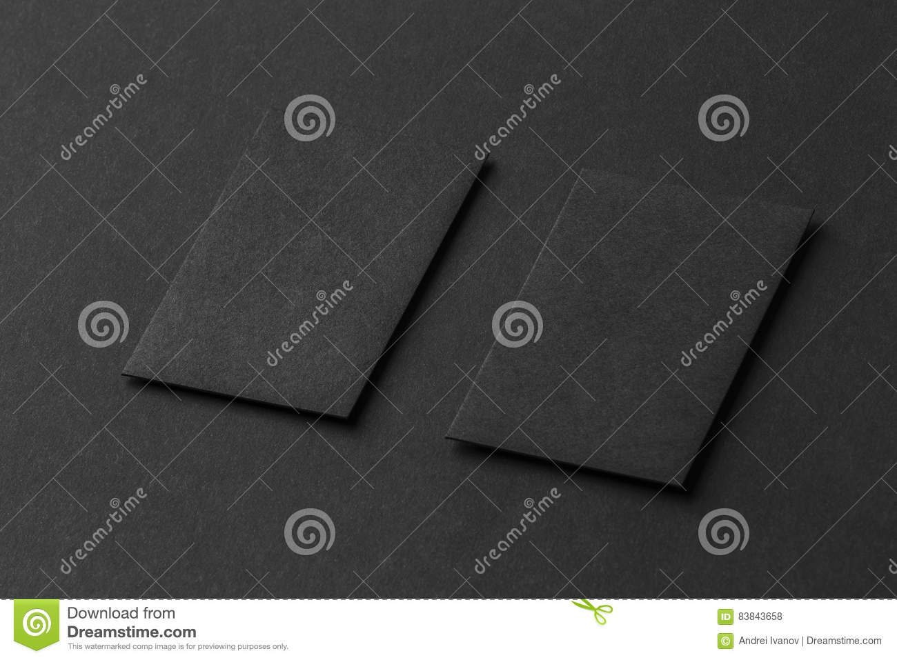 Mockup Of Two Vertical Business Cards At Black Textured Paper ...