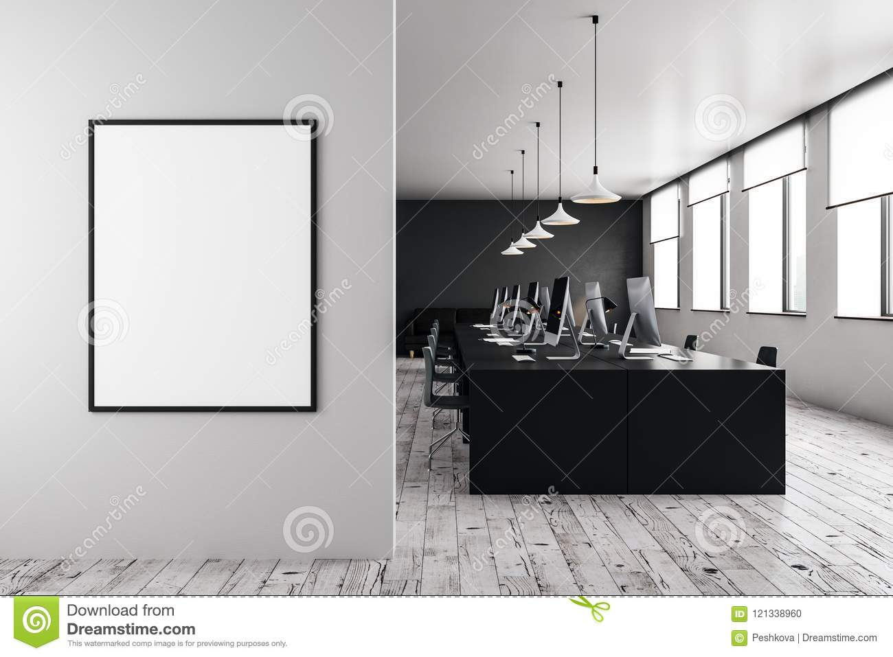 Attic office open space with beams glass doors brick wall
