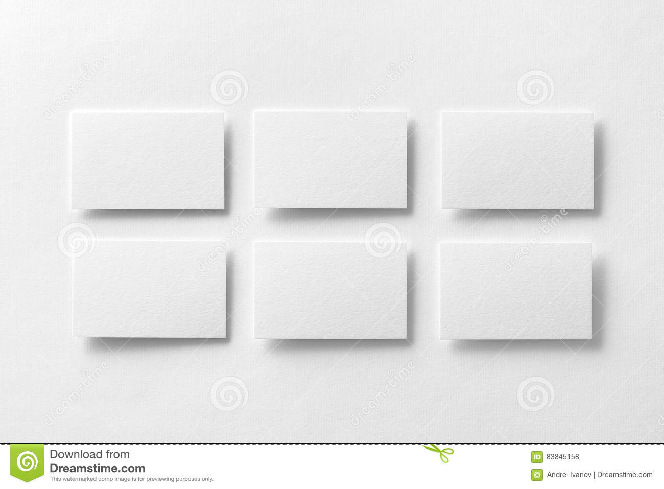 Mockup Of White Business Cards Arranged In Rows At White Design ...
