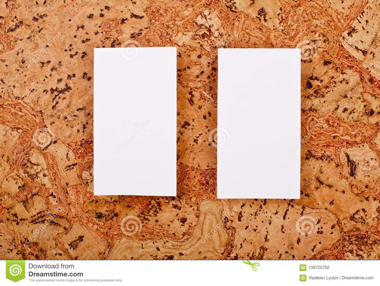 Mockup Of White Business Cards At A Cork Background Stock Photo ...