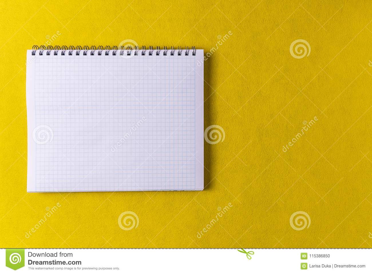 Mockup Yellow Paper Background And Opened Notebook Stock Photo