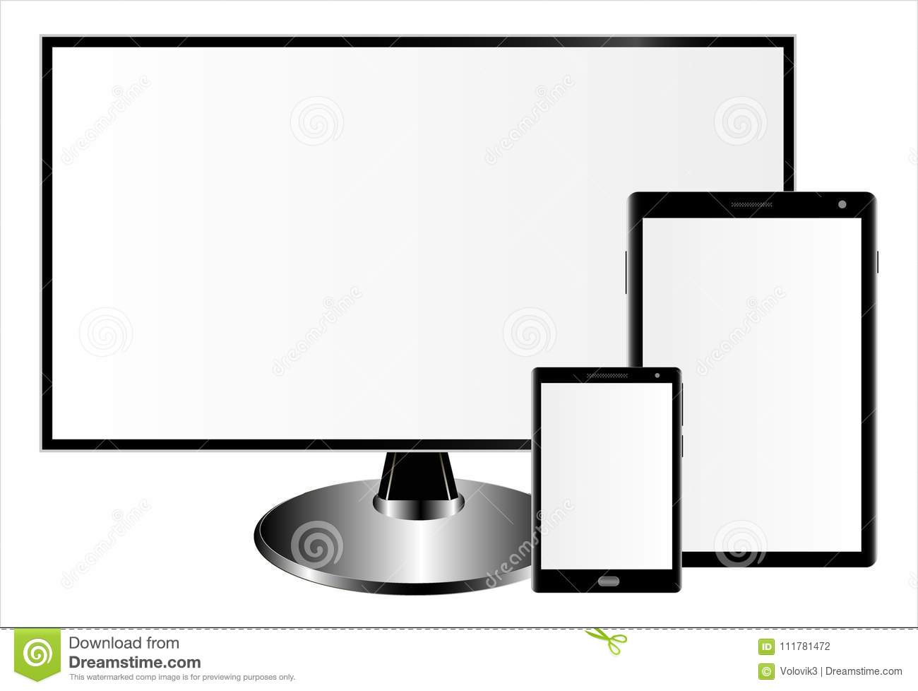 Mockups of a monitor, a tablet computer and a smartphone on a white background. Can be used as a template for your design.