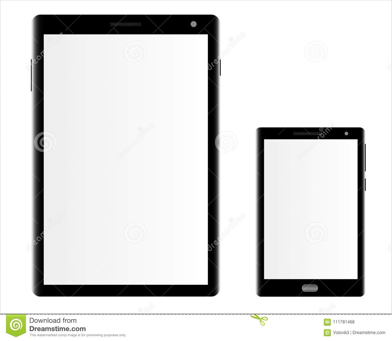 Mockups of a tablet computer and a smartphone on a white background.