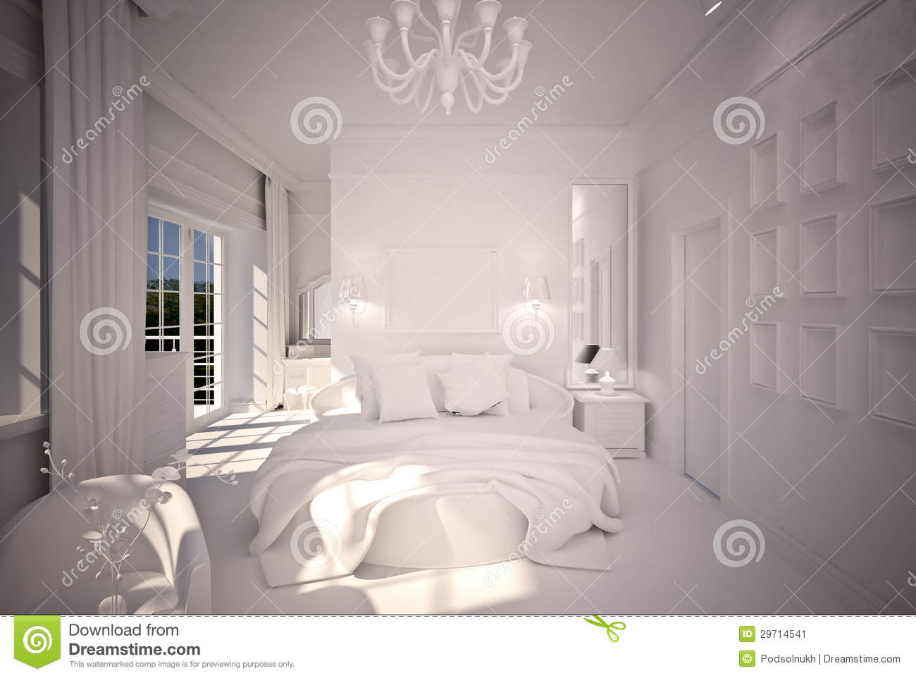 Conception int rieure b w de chambre coucher image stock image 29714541 for Conception chambre