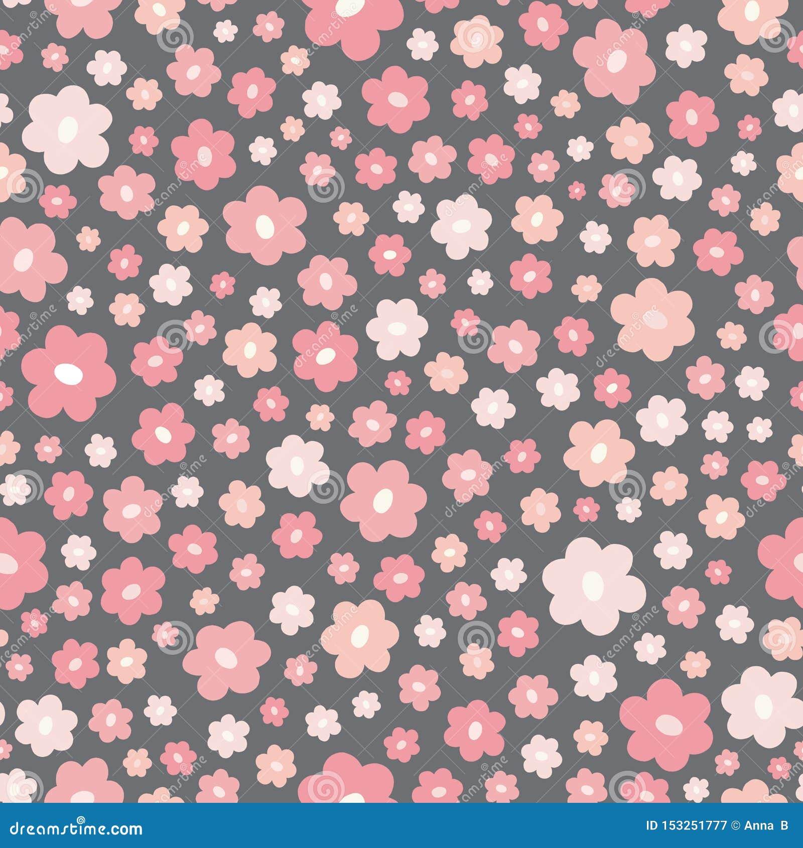 Modèle écervelé sans couture de répétition des fleurs roses stylisées Un joli vecteur floral a jeté le fond en l air de conceptio
