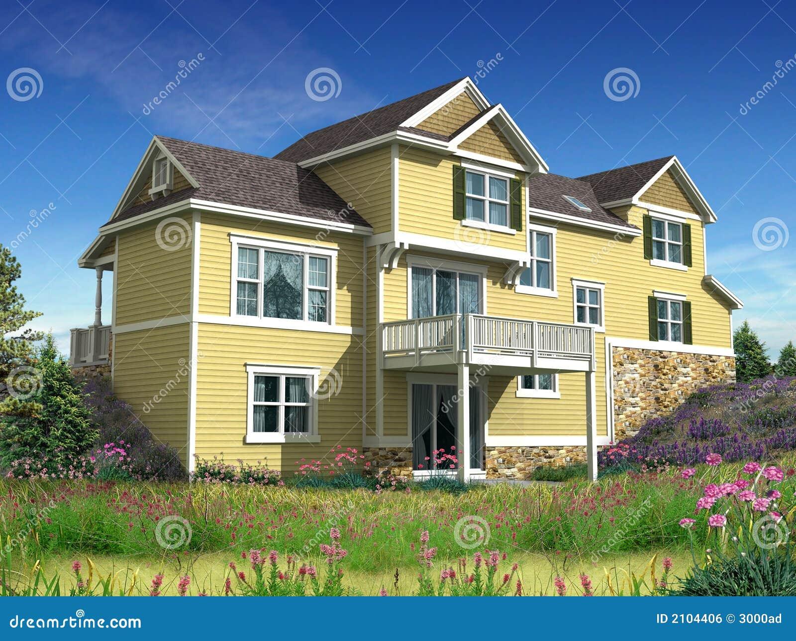 Modèle 3d de maison à deux niveaux