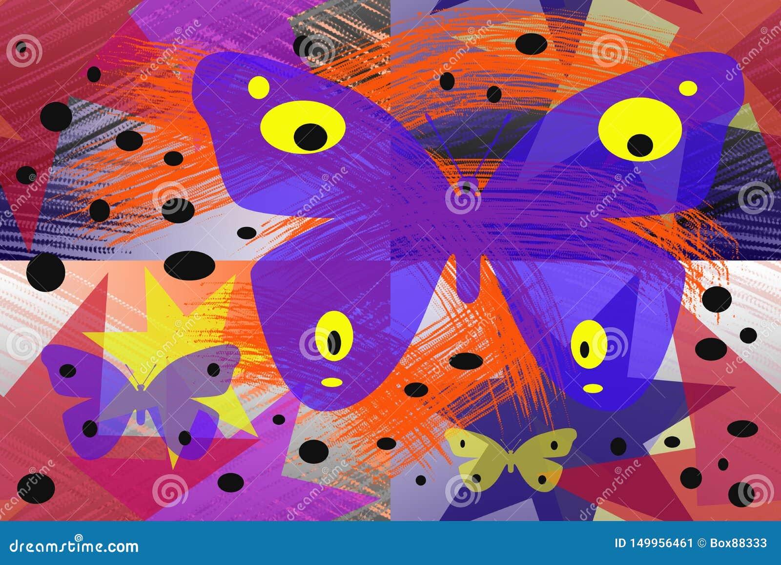 Modèle abstrait avec les papillons colorés
