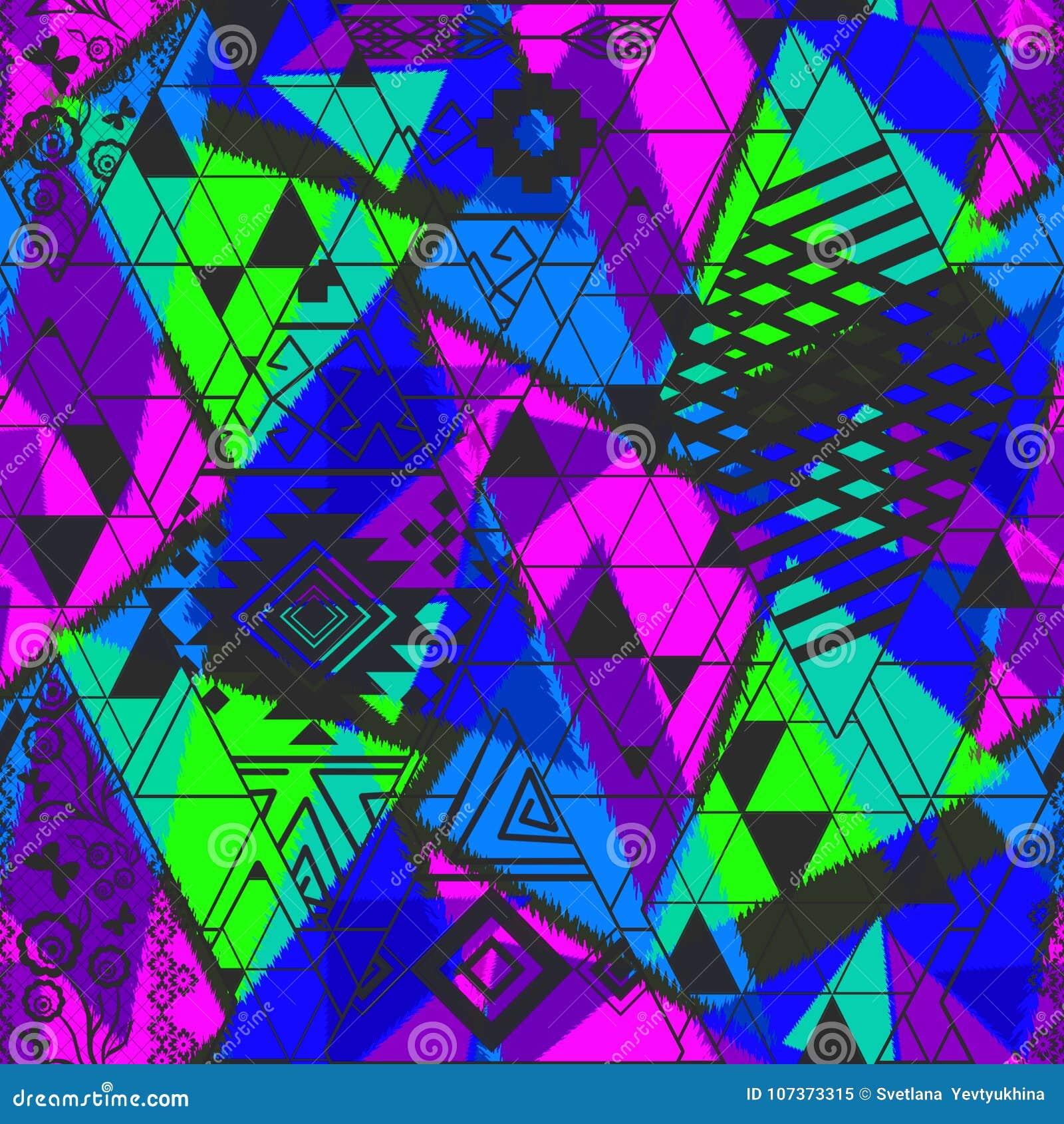 Modèle abstrait ethnique sans couture avec des tons au néon lumineux Ornement bleu, vert, rose, noir lumineux