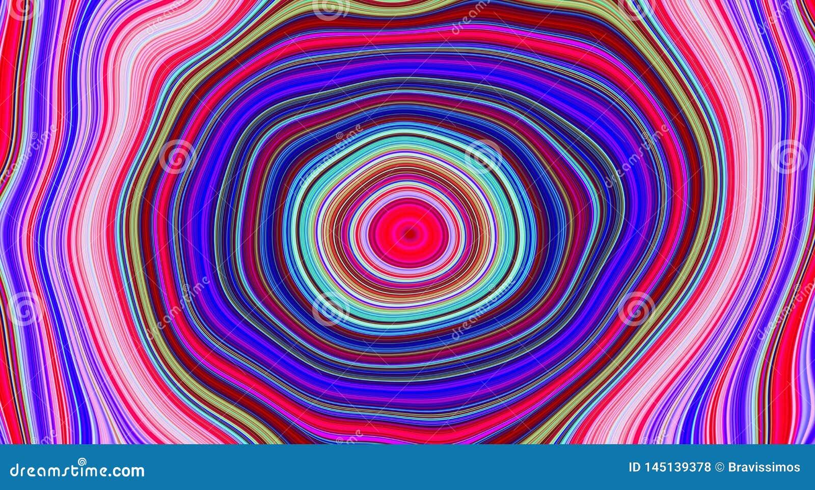 Modèle abstrait psychédélique et fond hypnotique pour l art de tendance, couleur de remous