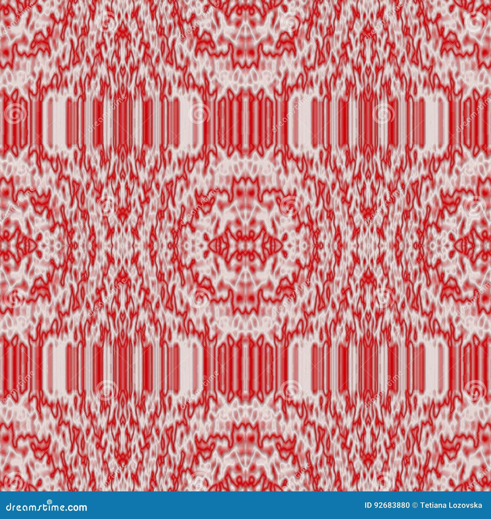 Modèle abstrait sans couture dans les tons blancs et rouges dans le style de tissu