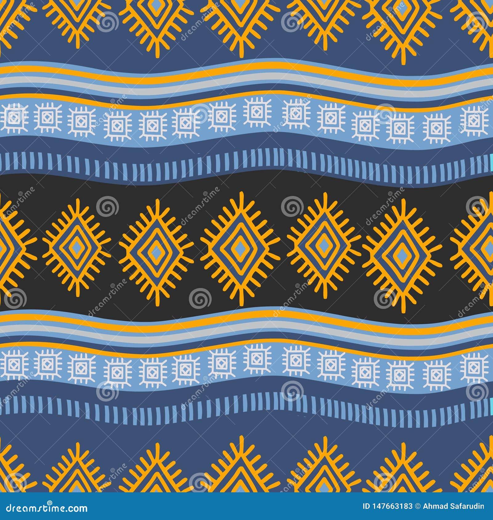 Modèle africain de cru dessinant l abrégé sur tiré par la main fond de rayures de Bohème sans couture
