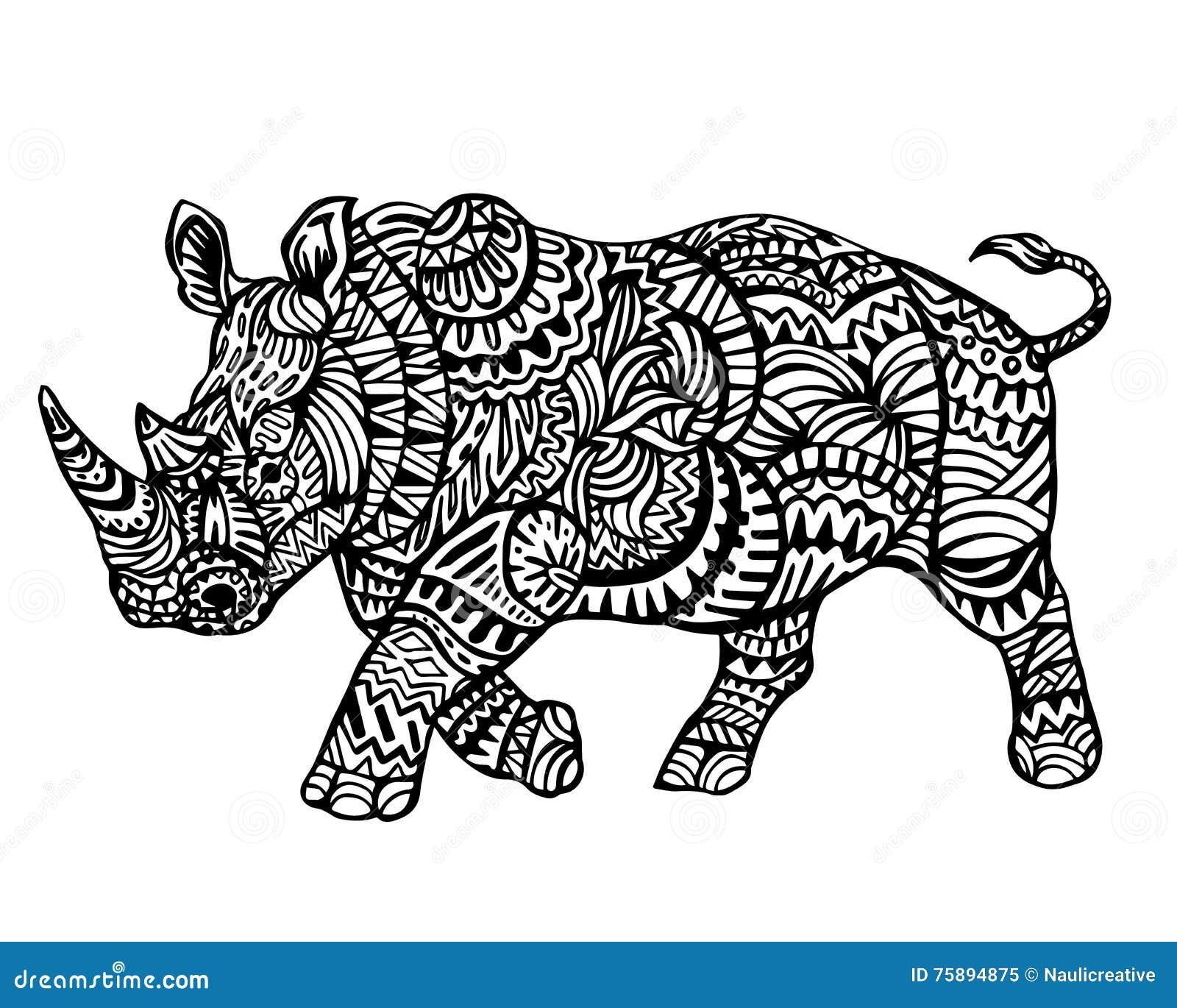 Modèle animal ethnique de détail de griffonnage - Owl Rhinoceros Zentangle Illustration