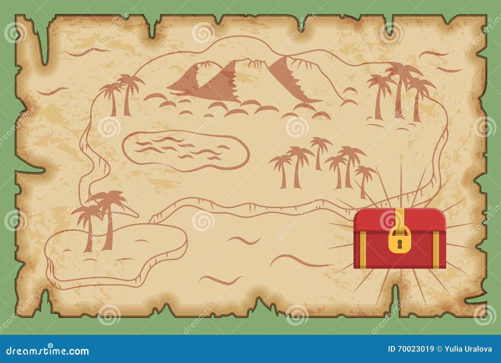 Carte Au Tresor Histoire.Modele Antique De Carte De Tresor De Pirate Illustration De
