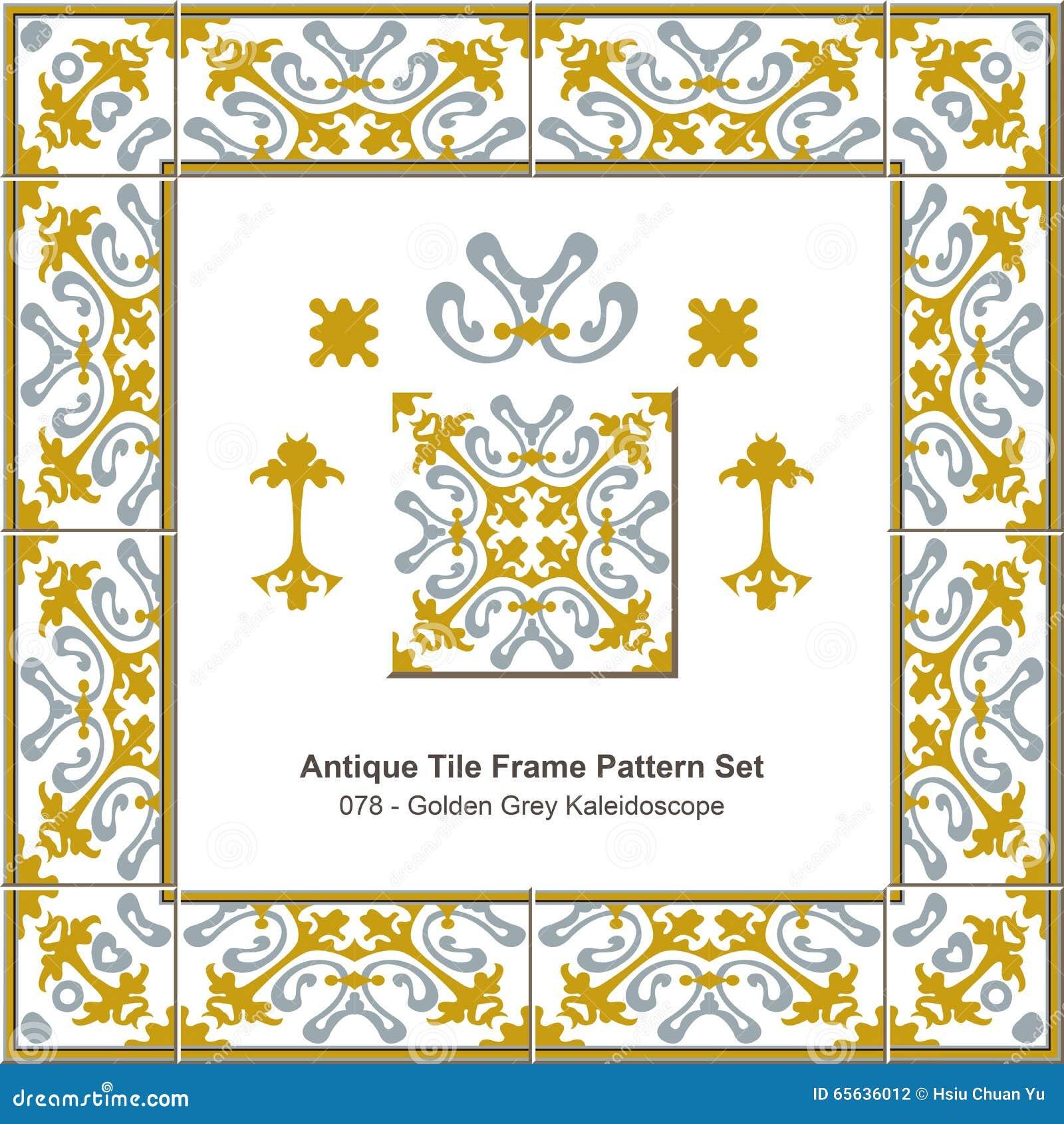 Modèle antique set_078 Grey Kaleidoscope d or de cadre de tuile