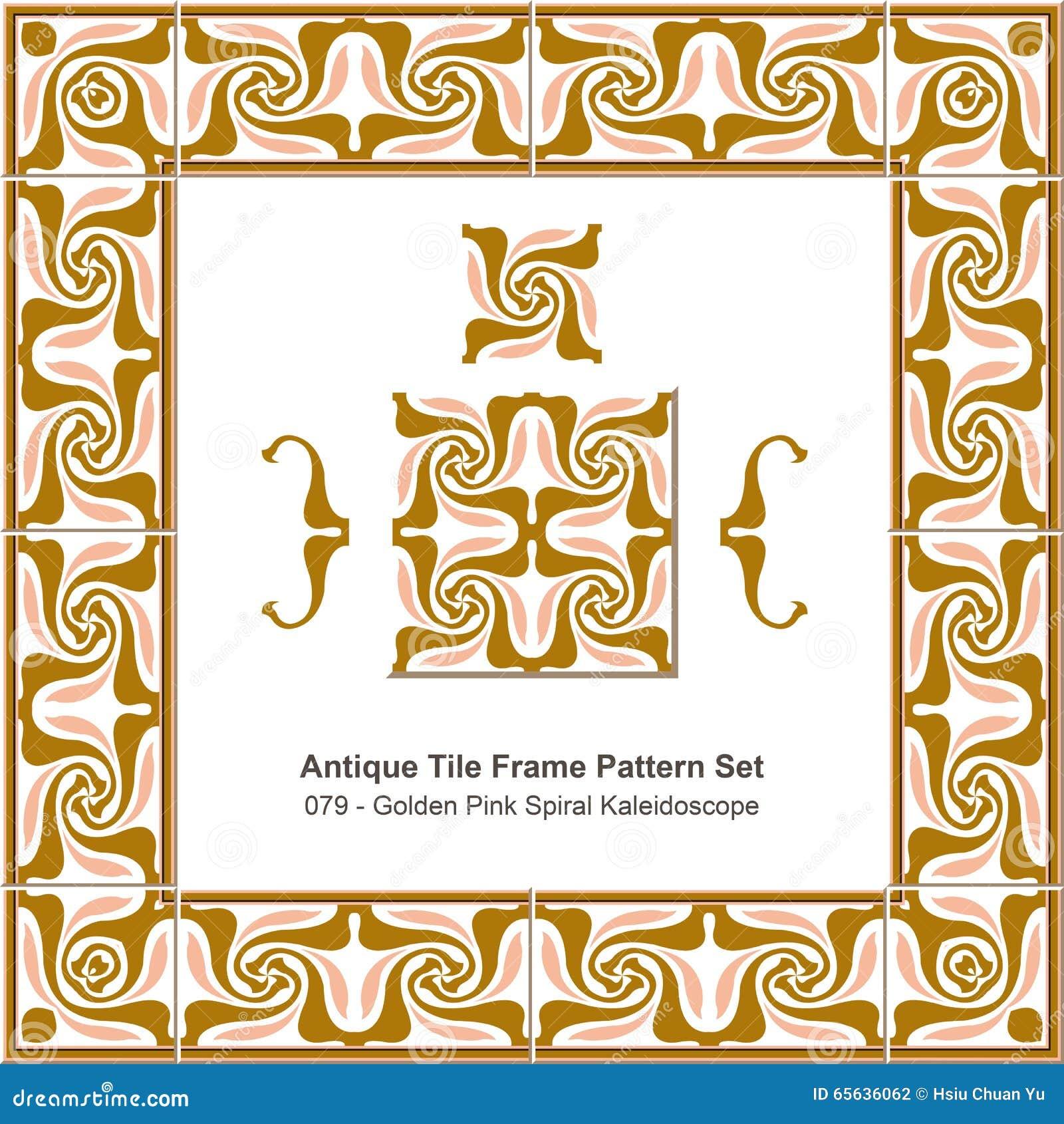 Modèle antique set_079 Kaleidosco en spirale rose d or de cadre de tuile